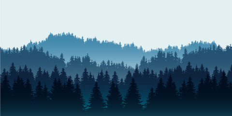 Realistic illustration of coniferous forest on hills in multiple layers, under blue sky and space for text, vector