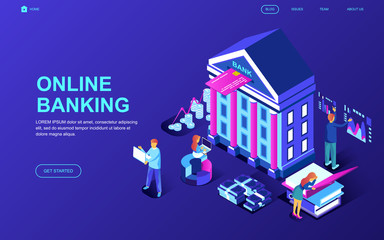 Modern flat design isometric concept of Online Banking decorated people character for website and mobile website development. Isometric landing page template. Vector illustration.