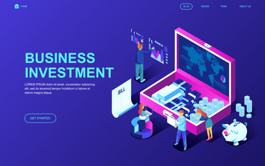 Modern flat design isometric concept of Business Investment decorated people character for website and mobile website development. Isometric landing page template. Vector illustration.