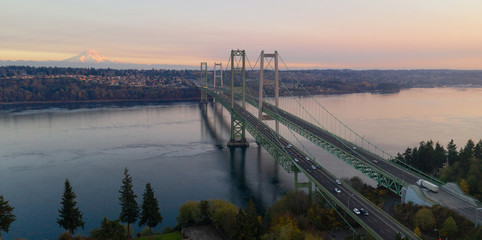 Aerial View Tacoma Narrows Bridges over Puget Sound Mount Rainier in the background
