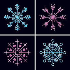 glowing neon snowflakes set in line style isolated on dark background