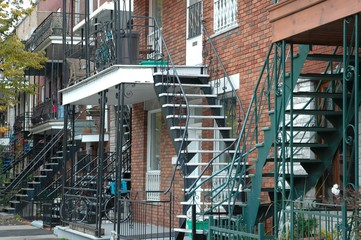 Traditional stairs and bikes, Montreal, Canada