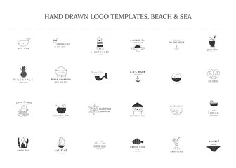 Set of vector hand drawn logo templates. Beach and sea theme.