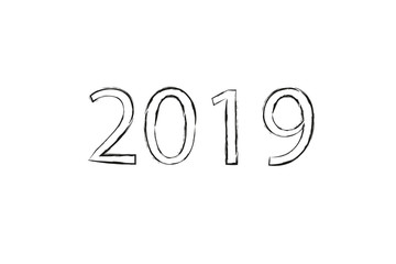 Dry brush texture effect. 2019 numeral hand lettering. Happy New Year. Merry Christmas. Graduation. Vector Illustration