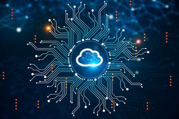 Fotobehang - Cloud computer interface