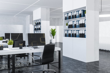 White office with bookcases
