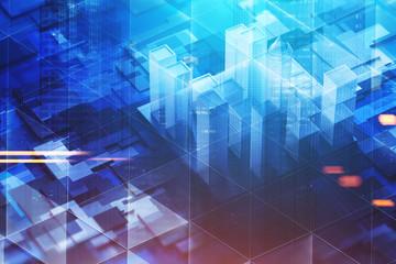 Dark blue city model on motherboard toned