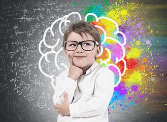 Little boy in glasses, brain sketch