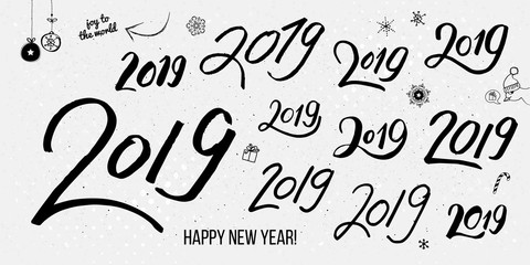 Set of black typographic hand drawn vintage 2019 numbers.