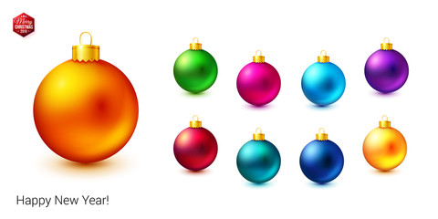 Set of shiny and bright colored Christmas balls on white background.