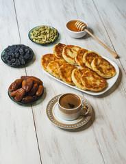 Msabeeb is a flatbread. Arabic dessert with honey, cardamom, cinnamon and raisins.