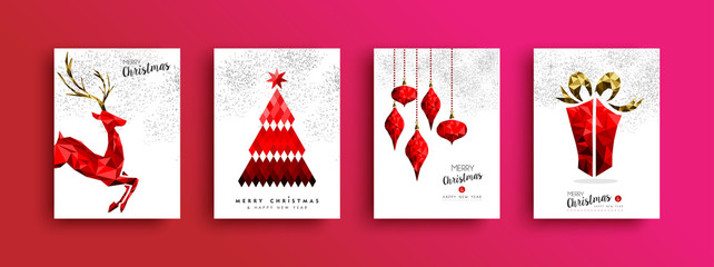Christmas and New Year red low poly card set