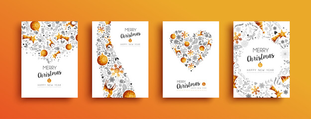 Christmas and New Year gold greeting card set