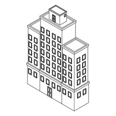 Company building isometric black and white