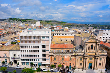 view from the bell tower of the cathedral San Giovanni Battista Ragusa Sicily Italy