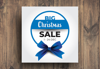 Christmas Sale Card With Blue Accent
