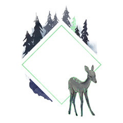 Winter geometric frame with deer in forest