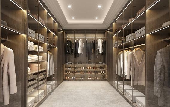 Luxury modern men dressing room