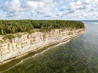 Panga coastal cliff (Panga pank, Mustjala cliff), northern shore of Saaremaa island, near Kuressaare, Estonia. North-Estonian limestone escarpment, Baltic Klint. Bird eye aerial drone photography.