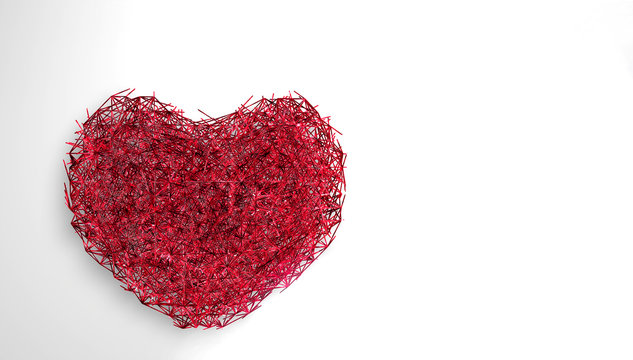 World Heart Day Background. 3D illuminated neon heart of glowing particles and wireframe.  illustration.