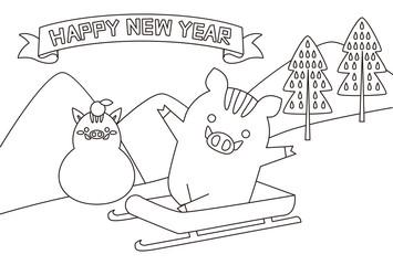 ぬり絵年賀状2019 そり滑りする猪 HAPPY NEW YEAR