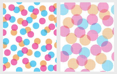 Funny Colorful Abstract Lights Vector Patterns.White Backgrounds.Round Shape Pink, Orange and Blue Lights. Creative Bokeh Effect. Cute Geometric Repeatbale Design.Simple Multicolor Abstract Decoration