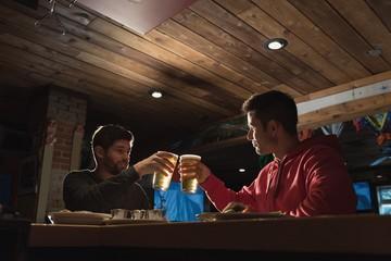 Friends toasting beer glasses in pub