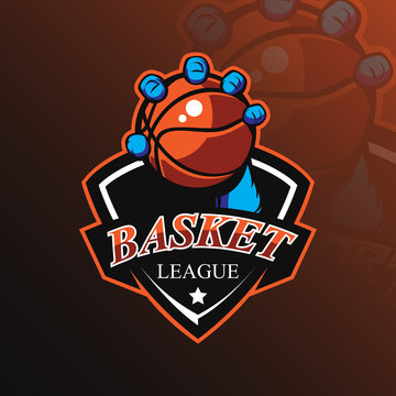 basketball mascot logo design vector with modern illustration concept style for badge, emblem and tshirt printing. basketball illustration with hands holding the ball.