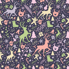 Seamless pattern with Christmas decorations. Vector.