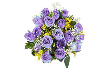 Blue rose bouquet isolated
