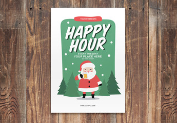 Happy Hour Christmas Flyer Layout