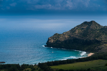 Aerial view overlooking the tropical island of Kauai and the Pacific Ocean, Hawaii, USA