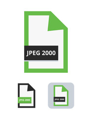Jpeg 2000 file flat vector icon. Symbol of JPEG 2000 file with choice of lossless or lossy compression for pictures, photos, images, graphic, web and print isolated on a white background.