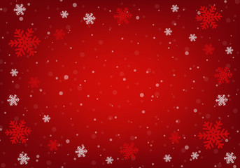 A red Christmas background with snowflakes borders.