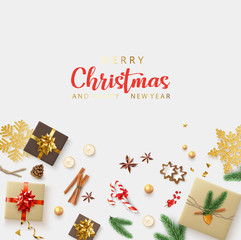 Merry Christmas and Happy New Year card with gifts and holiday decorations.