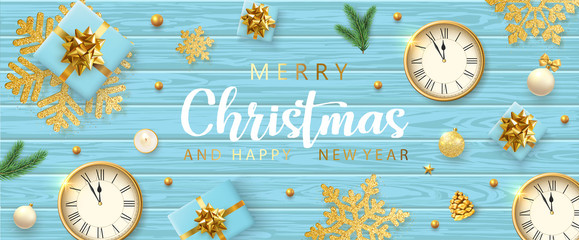 Merry Christmas and Happy New Year wooden banner with clock, gifts and golden snowflakes.