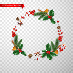 Round Christmas and New Year holiday decoration on transparent background.