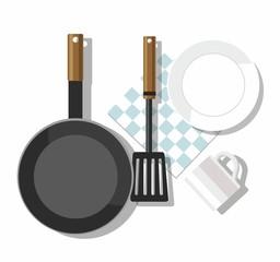 Kitchen utensils. Plate, mug, shovel, frying pan, napkin.  Top view