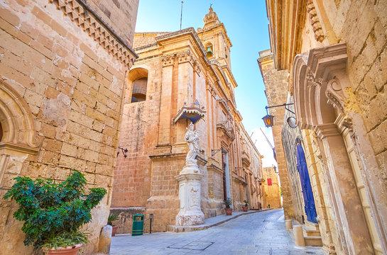 Walk along Mdina streets, Malta