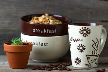 Coffee and with muesli  for breakfast.