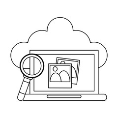 Laptop with pictures on cloud black and white