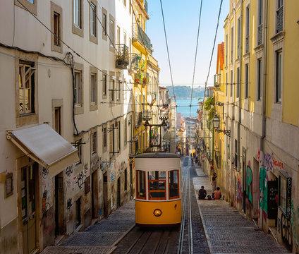 The Bica Funicular (Ascensor da Bica), Lisbon, Portugal