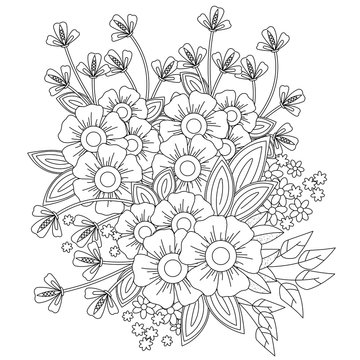 coloring book page for adult and kids. Cute doodle composition with abstract flowers and leaves