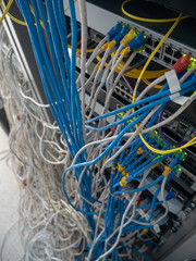 The tangled cable in rack cabinet