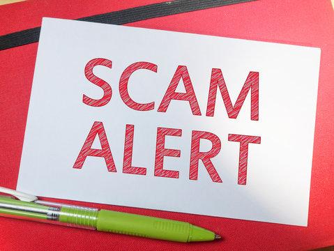 Scam Alert, Internet Fraudulent Words Quotes Concept