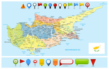 Cyprus Political Map with roads and Glossy Map Icons