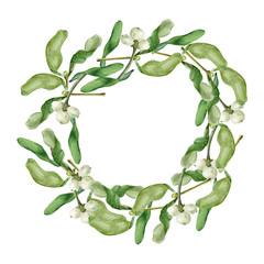 Christmas wreath with Mistletoe. Round border. Watercolor illustration on white background.