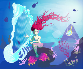 Mermaid playing the harp at the bottom of the ocean and notice the falling in the water mirror