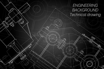 Mechanical engineering drawings on black background. Reducer. Technical Design. Cover. Blueprint. Vector illustration.