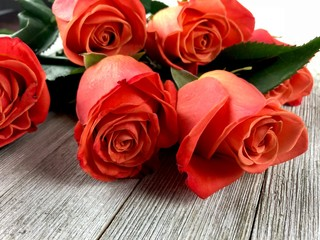 Orange roses on a wooden surface